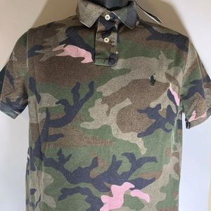 Polo Slim Fit Montauk Camo and Pink sz Men's Small